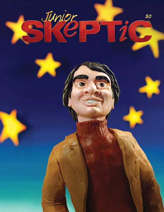 Carl Sagan, created from modeling clay and mixed media, by Daniel Loxton