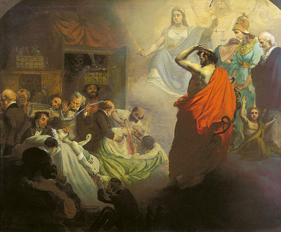 1857 painting by Alexander Beydeman (1826-1869) depicting historical figures and personifications of homeopathy, including the founder of homeopathy, Christian Friedrich Samuel Hahnemann (far right), observing the perceived brutality of allopathic medicine of the 19th century.