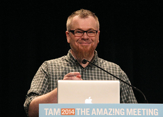 Daniel Loxton on stage at The Amazing Meeting 2014 (Photo by Daivd Patton)