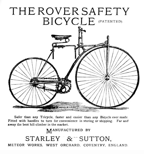An early upright bicycle with the central features in place.