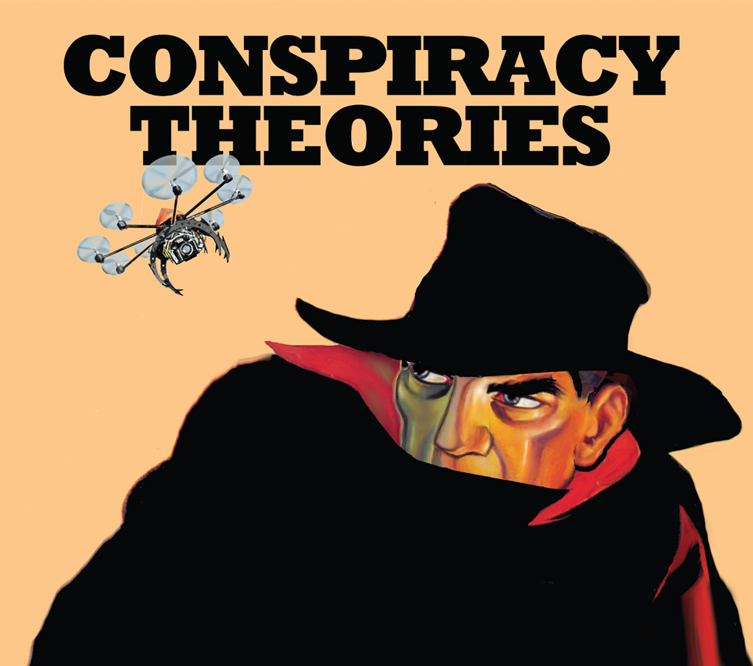 Conspiracy Theories Booklet (cover detail). Illustration by Pat Linse.