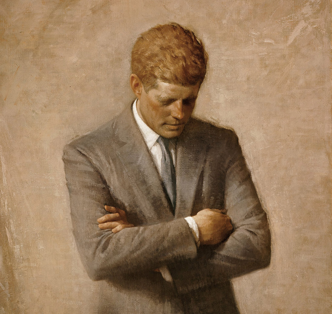 The official White House portrait of John F. Kennedy, by Aaron Shikler [Public domain], via Wikimedia Commons