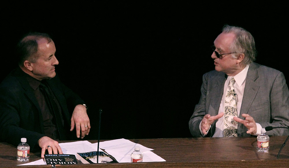 Richard Dawkins (right), in conversation with Michael Shermer