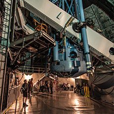 100-inch Hooker telescope. Hubble's chair sits on a platform in the center left. (Photo credit: Ron Constable)