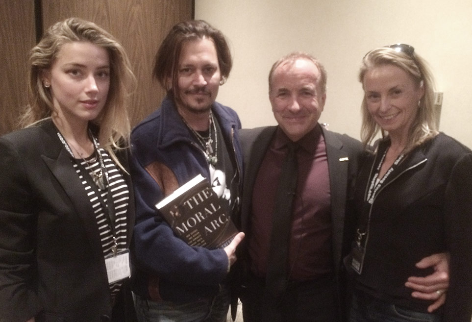 Left to right: Amber Heard, Johnny Depp, Michael Shermer, Jennifer Shermer