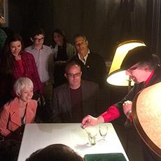 Magician Jamy Ian Swiss performing closeup magic at the Shermer home