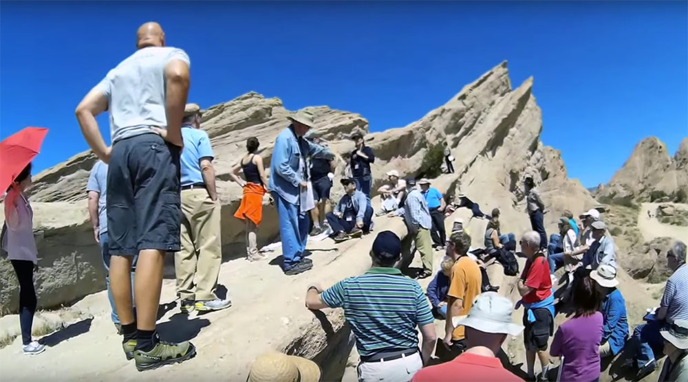 Geo Tour leader Dr. Donald Prothero lectures about the geological formation at Vasquez Rocks outside of Los Angeles, where Star Trek and many other TV shows, films, and commercials are filmed.
