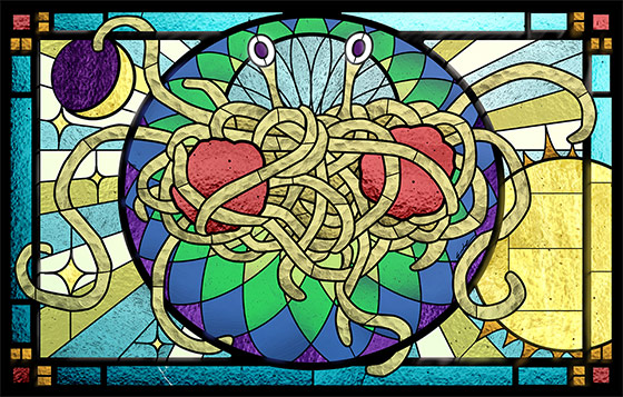 The Flying Spaghetti Monster. Stained glass by Sarah Pierce. Photo by John Dill via Flickr [CC BY 2.0].