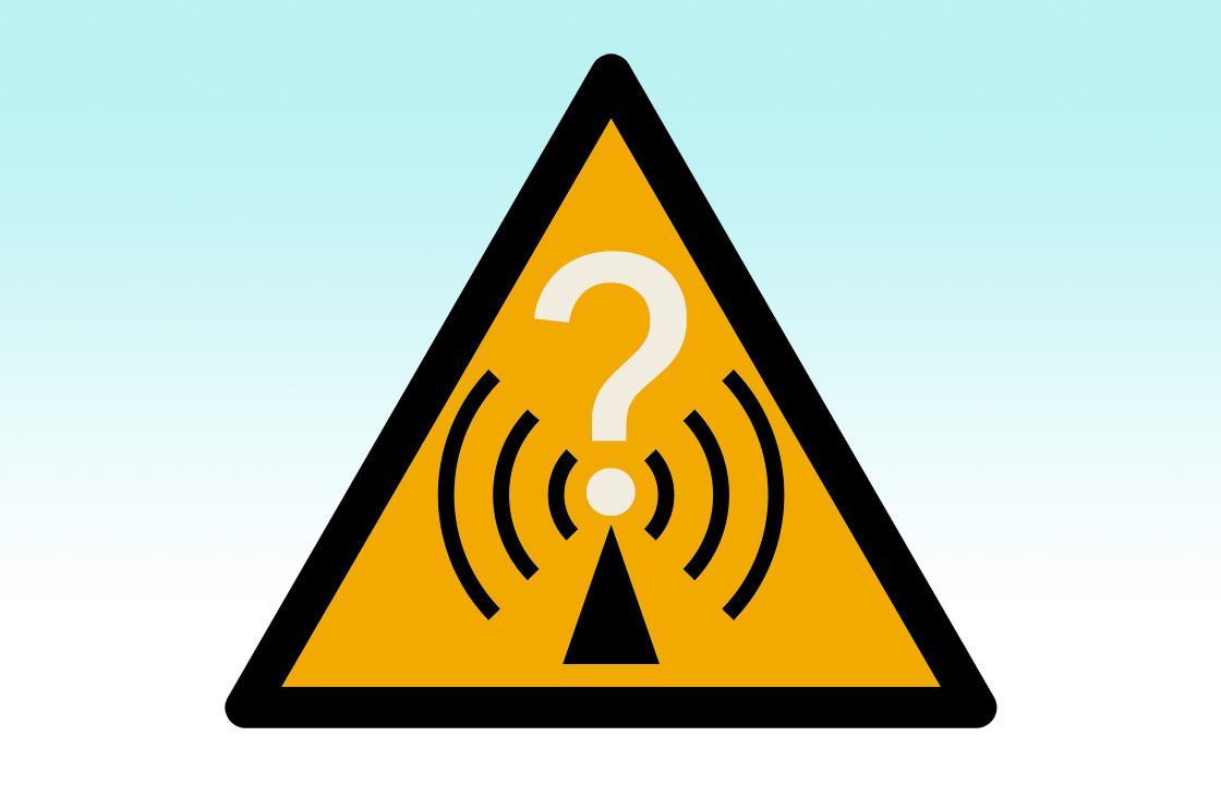 Radio waves hazard symbol (via Wikimedia Commons at https://commons.wikimedia.org/wiki/File:Radio_waves_hazard_symbol.svg), with gradient and question mark added, and yellow changed to Pantone 130