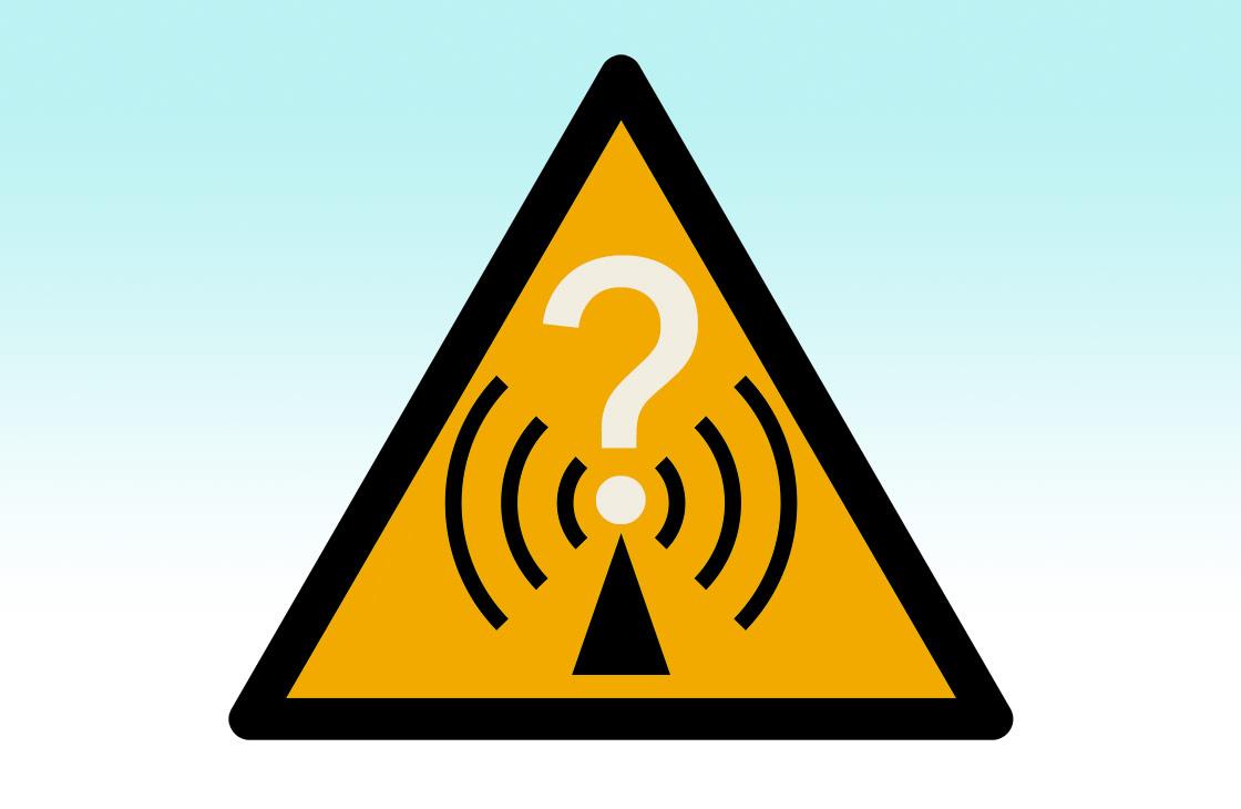 Radio waves hazard symbol (via Wikimedia Commons at https://commons.wikimedia.org/wiki/File:Radio_waves_hazard_symbol.svg), with gradient and question mark added, and yellow changed to Pantone 130