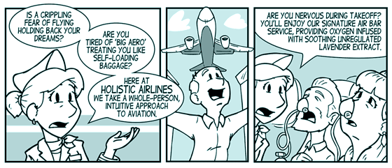 Holistic Airlines: The Natural Way to Fly. A Carbon Comic by Kyle Sanders.
