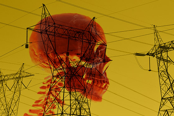 red skull and power lines