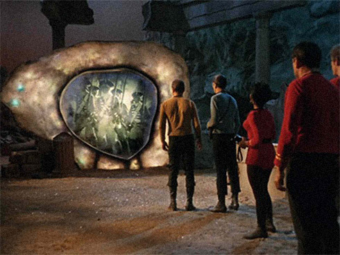 The crew of the USS Enterprise encounter the Guardian of Forever (Film still from episode. Credit: CBS)
