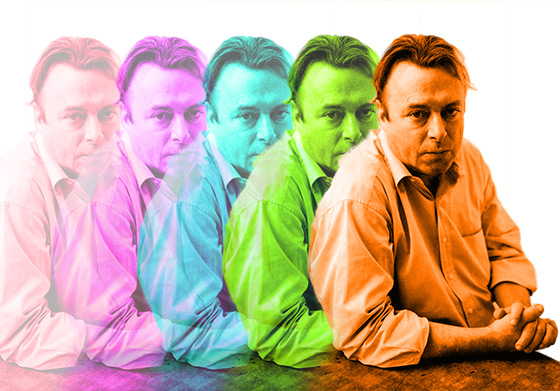 Christopher Hitchens (1949–2011), remixed by W. Bull from original photograph by Fri Tanke [CC BY 3.0], via Wikimedia Commons.