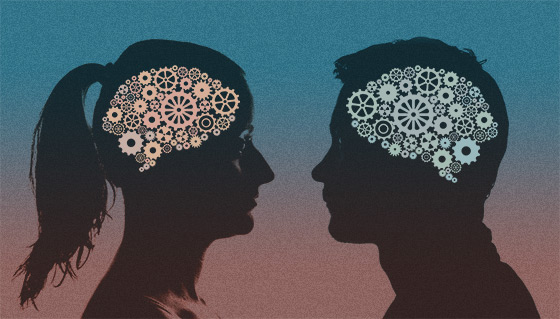 Differences in Thinking, by W Bull. This is a composite image of a silhouette of a man and a woman [public domain] (https://goo.gl/Qt5UE1) combined with the gear brains (https://www.flickr.com/photos/duboc/7896404652/), by jrduboc (https://www.flickr.com/photos/duboc/), used under Creative Commons [CC BY 2.0]. The gear brains image has been tinted from the original.