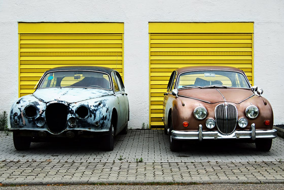 old parked cars