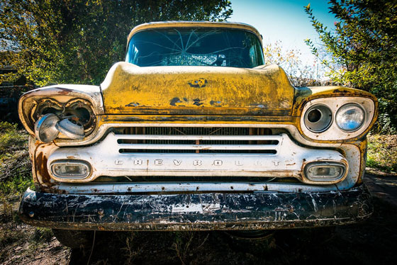 old yellow Chevy
