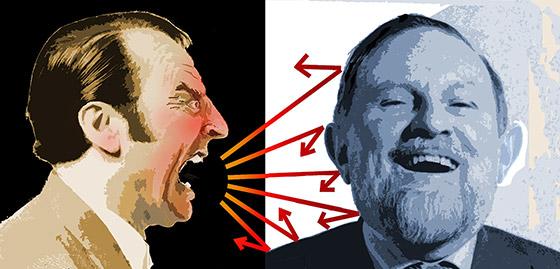 Angry man yelling at happy man (illustration)