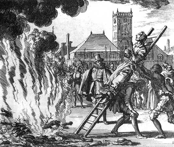 Anneken Hendriks, a woman accused of following the wrong faith, about to be burned to death in 1571. Depiction by the Dutch artist Johannes Jan Luyken. [PUBLIC DOMAIN] via wikimedia commons