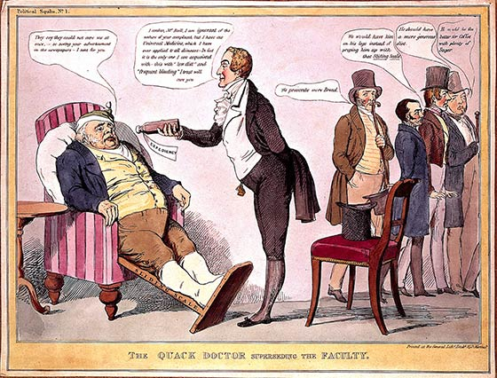 A quack doctor offering a gouty John Bull some medicine whilst conventional doctors are turned away, satirizing British politics. Coloured lithograph attributed to J. Doyle.
