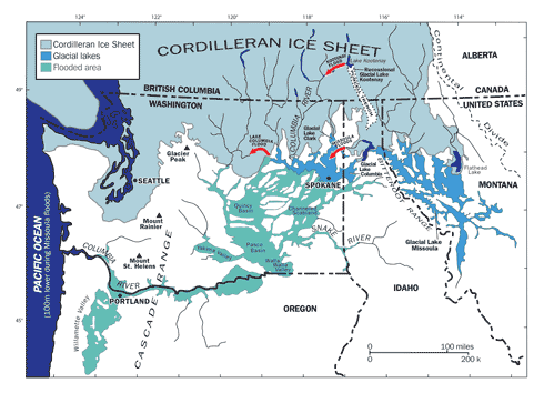 Figure 10: The distribution of Lake Missoula and the flooded areas. (from Waitt)