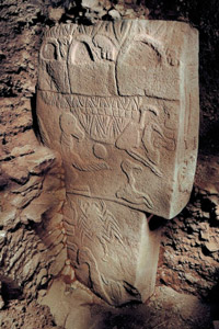 Figure 2: A T-shaped megalith with animal carvings at Göbekli Tepe