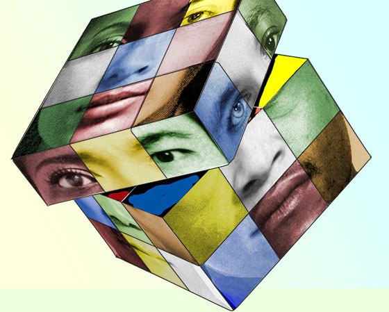 cube puzzle, with various faces represented on each square