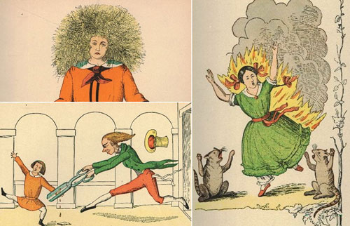 A collage of Der Struwwelpeter illustrations [Public domain], via Wikimedia Commons