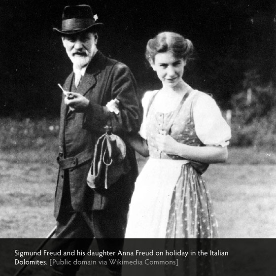 Sigmund Freud and his daugher Anna Freud on holiday in the Italian Dolomites. [Public domain via Wikimedia Commons]