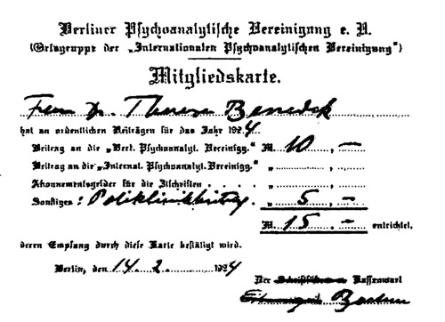 Therese Benedek'''s membership card for the Berlin Psychoanalytic Society, including a 5 Kronen fee for support of the Society's free Polyclinic.
