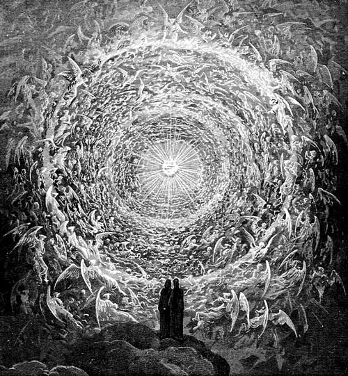 The Empyrean of God. Dante Alighieri's 1320 poem The Divine Comedy is an imaginative vision of the afterlife inspired by medieval Christian theologians. The artist Gustave Doré illustrated God's empyrean for an 1892 edition of the work.