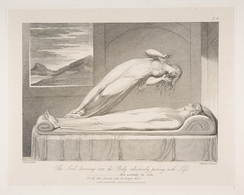 "The Soul. William Blake's portrayal of the soul departing the body upon death captures what most people believe to take place. An illustration from a series designed by Blake for an edition of the poem ""The Grave"" by Robert Blair, engraved by Louis Schiavonetti in 1813, titled <em>The Soul Hovering over the Body, Reluctantly Parting with Life</em>. Courtesy of the Metropolitan Museum of Art."