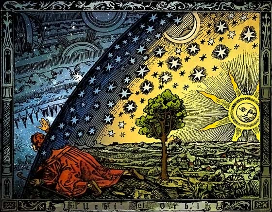 Universum by Heikenwaelder Hugo, Austria, www.heikenwaelder.at [CC BY-SA 2.5], via Wikimedia Commons is a colorized version of The Flammarion wood engraving by an unknown artist that first appeared in Camille Flammarion's L'atmosphère: météorologie populaire (1888).