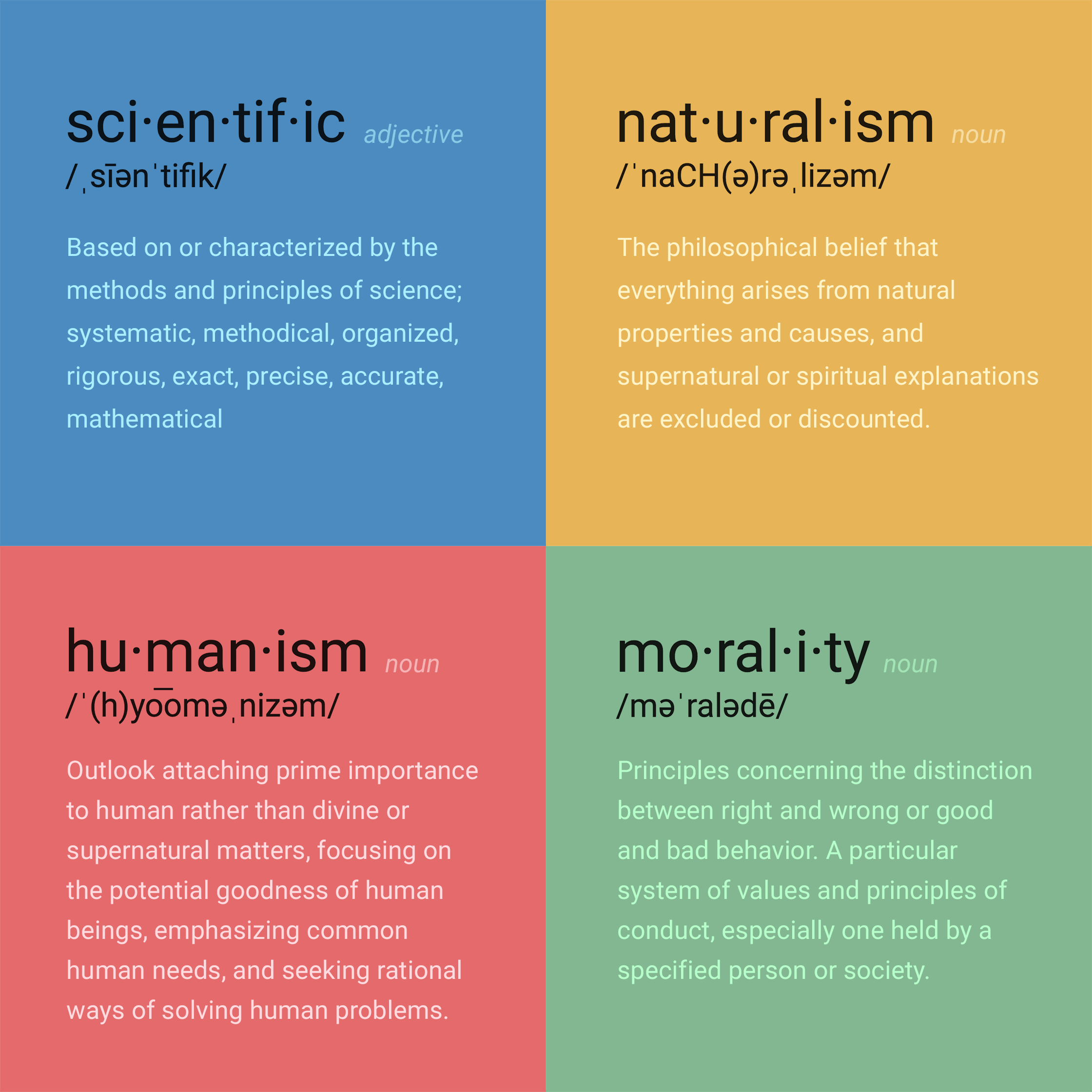 scientific, naturalism, humanism, morality (definitions)
