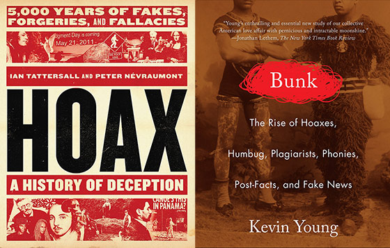 Hoax and Bunk book covers side by side