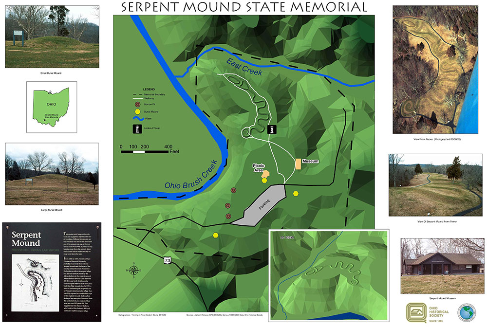 A digital GIS map of Ohio's Great Serpent Mound, created by Timothy A. Price and Nichole I. Stump in March of 2002.