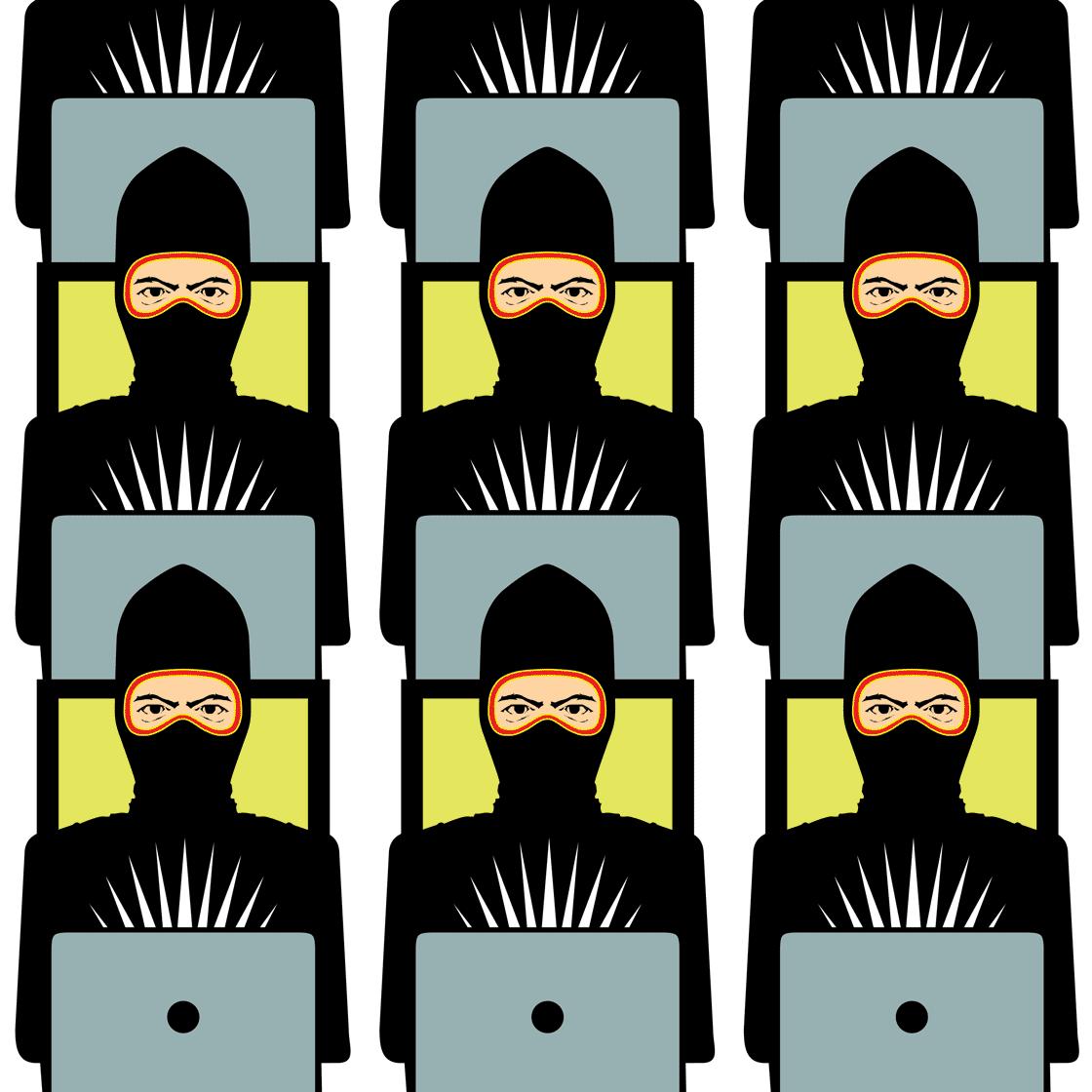 Fake new ninjas (illustration copyright 2019 by Pat Linse, Art Director of Skeptic Magazine. Illustration appears in Skeptic Magazine 24.1 in 2019)