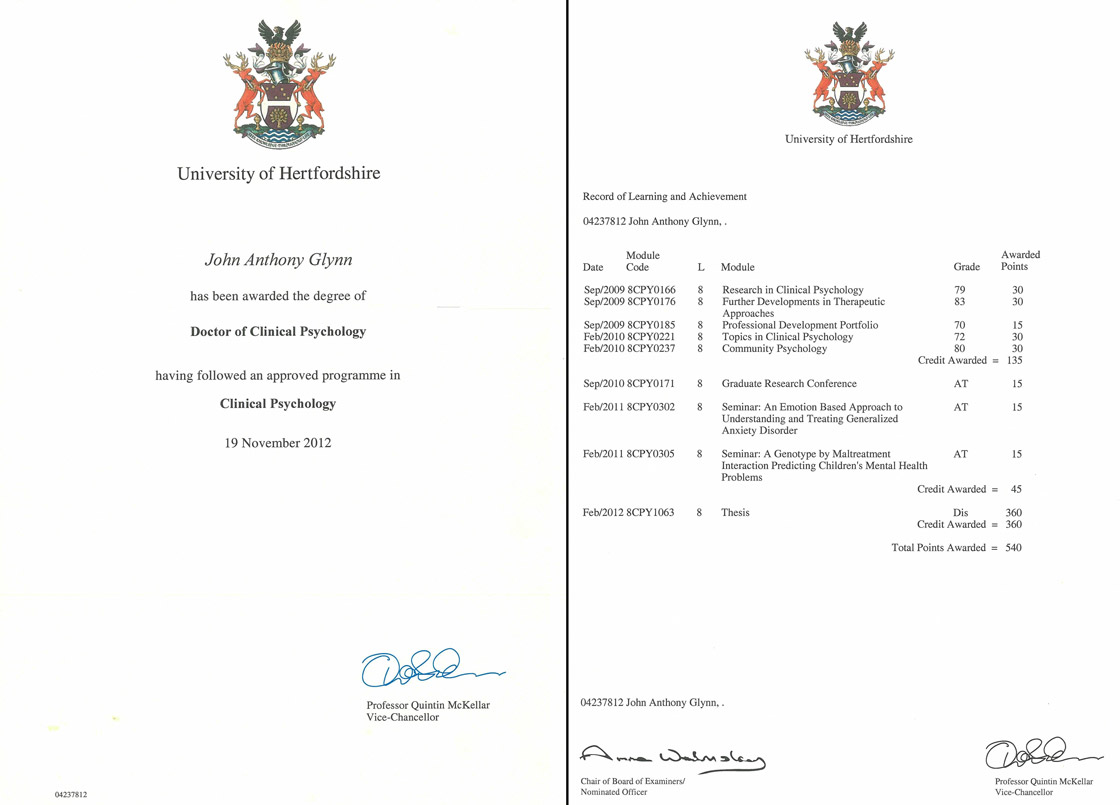 PhD Scan of Degree and Transcript received from JohnGlynn