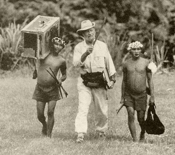 Napoleon Chagnon accompanies two Yanomamo men on a 1995 field study.