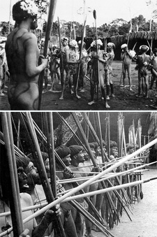 Top: armed visitors to a village feast. Bottom: the Yanomamo dress differently for war, without feathers and their faces painted black with masticated charcoal.