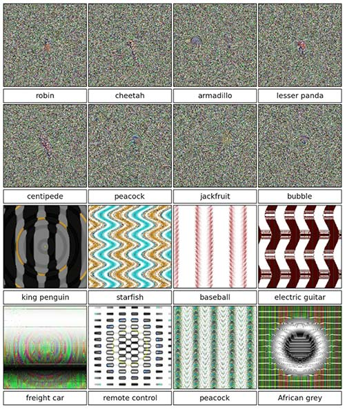 TV snow patterns and abstract geometric patterns identified by AI as specific objects.
