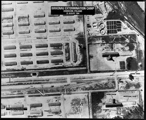Aerial photograph of Crematoria II and III of Auschwitz-Birkenau