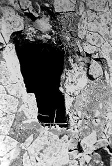 A possible hole through which the Zyklon-B gas was introduced into the subterranean gas chamber