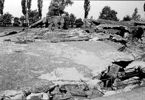 The remains of the crematoria after the entire structure was destroyed by the Nazis shortly before the camp was liberated in January 1945