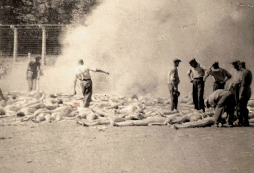 burning of bodies in an open pit after gassing