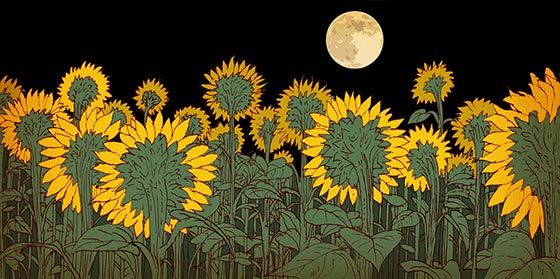 Sunflowers facing the moon (Illustration by Izhar Cohen)