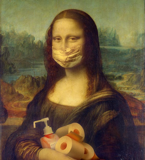 Mona Lisa wearing a face mask (with hand sanitizer and toilet paper in hands). Photo by Yaroslav Danylchenko from Pexels (https://www.pexels.com/photo/mona-lisa-protection-protect-virus-4113084/)