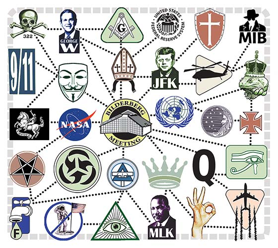 icons prepresenting various conspiracy theories