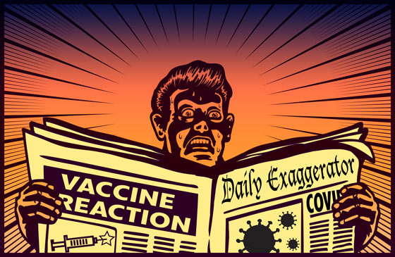Illustration: reader panics in response to news about COVID-19 vaccine reactions