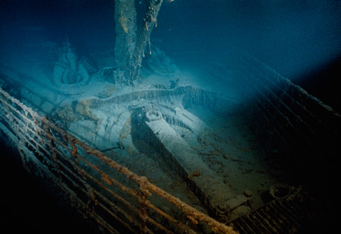 Rusted bow of the R.M.S. Titanic ocean liner in the North Atlantic. (National Geographic/Emory Kristof)